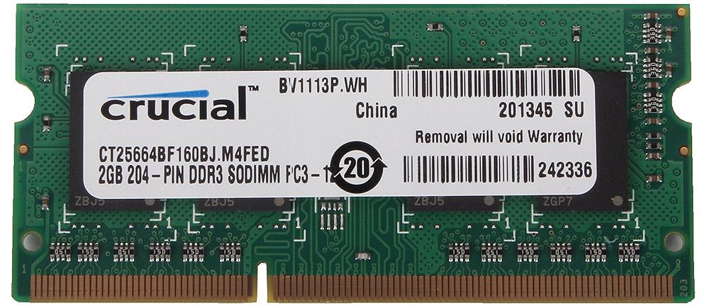 Crucial SO-DIMM DDR3L 2Gb 1600 МГц модуль оперативной памяти (CT25664BF160BJ)868694Небуферезированная память Crucial SO-DIMM DDR3L предоставляет качество работы, надежность и производительность, требуемую для современных ноутбуков сегодня. Этот модуль емкостью 2 ГБ, спроектирован для работы на частоте 1600 МГц PC3-12800 при таймингах CL-11. Благодаря низкому напряжению (1,35 В), снижается потребление энергии, что обеспечивает отсутствие нагрева и бесшумную работу ноутбука.