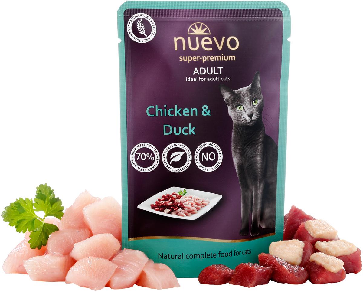 Консервы Nuevo для взрослых кошек, с мясом курицы и утки, 85 г95208Консервы Nuevo для взрослых кошек содержит 72% свежего мяса курицы и утки в сочетании с высококачественным маслом лосося для оптимального уровня Омега6/Омега3 жирных кислот в организме и прекрасной физической формы животного. Замечательные вкусовые качества и отборные ингредиенты позволяют рекомендовать этот рацион даже для особо привередливых кошек. Состав: 72% мяса (42% курицы, 30% мяса утки), 26,5% бульона, 1% минералов, 0,5% масла лосося. Анализ: белок 10,8%, жир 6,5%, сырая зола 2,4%, сырая клетчатка 0,5%, влага 79%, кальций 0,25%, фосфор 0,20%, таурин 1500 мг.Товар сертифицирован.