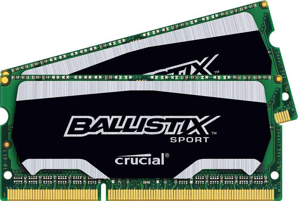 Crucial Ballistix Sport SO-DIMM DDR3L 2х4Gb 1866 МГц комплект модулей оперативной памяти (BLS2C4G3N18AES4CEU)BLS2C4G3N18AES4CEUМодули оперативной памяти Crucial Ballistix Sport типа SO-DIMM DDR3L предоставляют качество работы, надежность и производительность, требуемую для современных ноутбуков сегодня. Оснащены теплоотводом, выполненным из чистого алюминия, что ускоряет рассеяние тепла. Благодаря низкому напряжению (1,35 В), снижается потребление энергии, что обеспечивает снижение нагрева и бесшумную работу ноутбука.Общий объем памяти составляет 8 ГБ, что позволит свободно работать со стандартными, офисными и профессиональными ресурсоемкими программами, а также современными требовательными играми. Работа осуществляется при тактовой частоте 1866 МГц и пропускной способности, достигающей до 14900 Мб/с, что гарантирует качественную синхронизацию и быструю передачу данных, а также возможность выполнения множества действий в единицу времени. Параметры тайминга 10-10-10-30 гарантируют быструю работу системы.