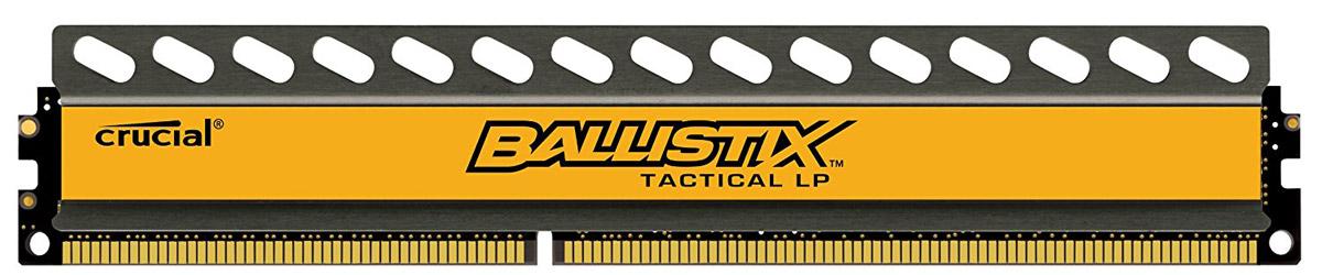 Crucial Ballistix Tactical LP DDR3L 8Gb 1600 МГц модуль оперативной памяти (BLT8G3D1608ET3LX0CEU)BLT8G3D1608ET3LX0CEUМодуль оперативной памяти Crucial Ballistix Tactical LP типа DDR3L предоставляет качество работы, надежность и производительность, требуемую для современных компьютеров сегодня. Оснащен теплоотводом, выполненным из чистого алюминия, что ускоряет рассеяние тепла. Благодаря низкому напряжению (1,35 В), снижается потребление энергии, что обеспечивает меньший нагрев и бесшумную работу ПК.Общий объем памяти составляет 8 ГБ, что позволит свободно работать со стандартными, офисными и профессиональными ресурсоемкими программами, а также современными требовательными играми. Работа осуществляется при тактовой частоте 1600 МГц и пропускной способности, достигающей до 12800 Мб/с, что гарантирует качественную синхронизацию и быструю передачу данных, а также возможность выполнения множества действий в единицу времени. Параметры тайминга 8-8-8-24 гарантируют быструю работу системы. Имеется поддержка XMP для удобного разгона в автоматическом режиме.