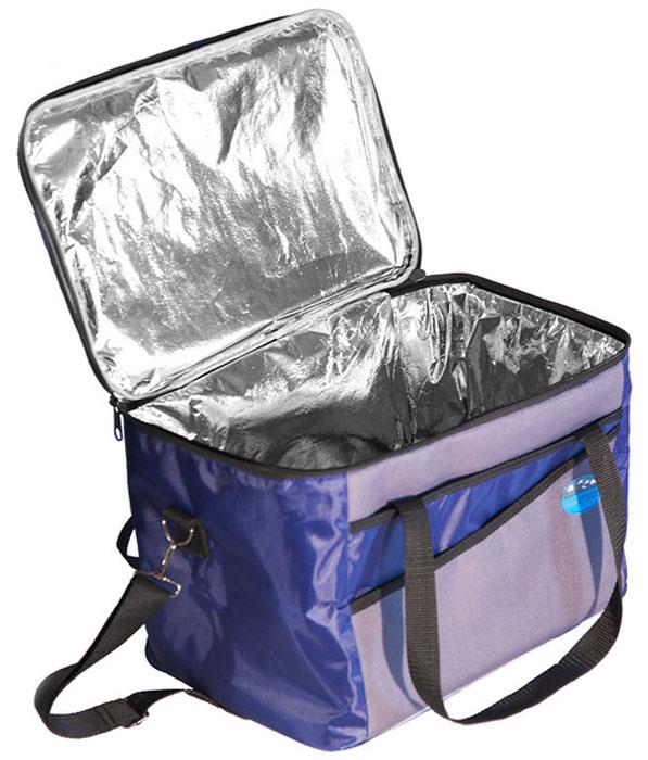 Сумка изотермическая Inturistic, цвет: серый, синий, 22,5 л102303-2Большая, удобная изотермическая сумка Inturistic, емкостью 22,5 литра, поможет сохранить длительное время температуру за счёт отражающего паро-гидроизоляционного материала и термостойкой изоляции. Сумка имеет усиленный каркас, 2 кармана и наплечный ремень.Коэффициент теплового отражения не менее 90%. Размер в рабочем состоянии: 36 х 26 х 24 см. Размер в сложенном виде: 36 х 26 х 7 см.*Наибольший эффект достигается при использовании аккумуляторов холода.