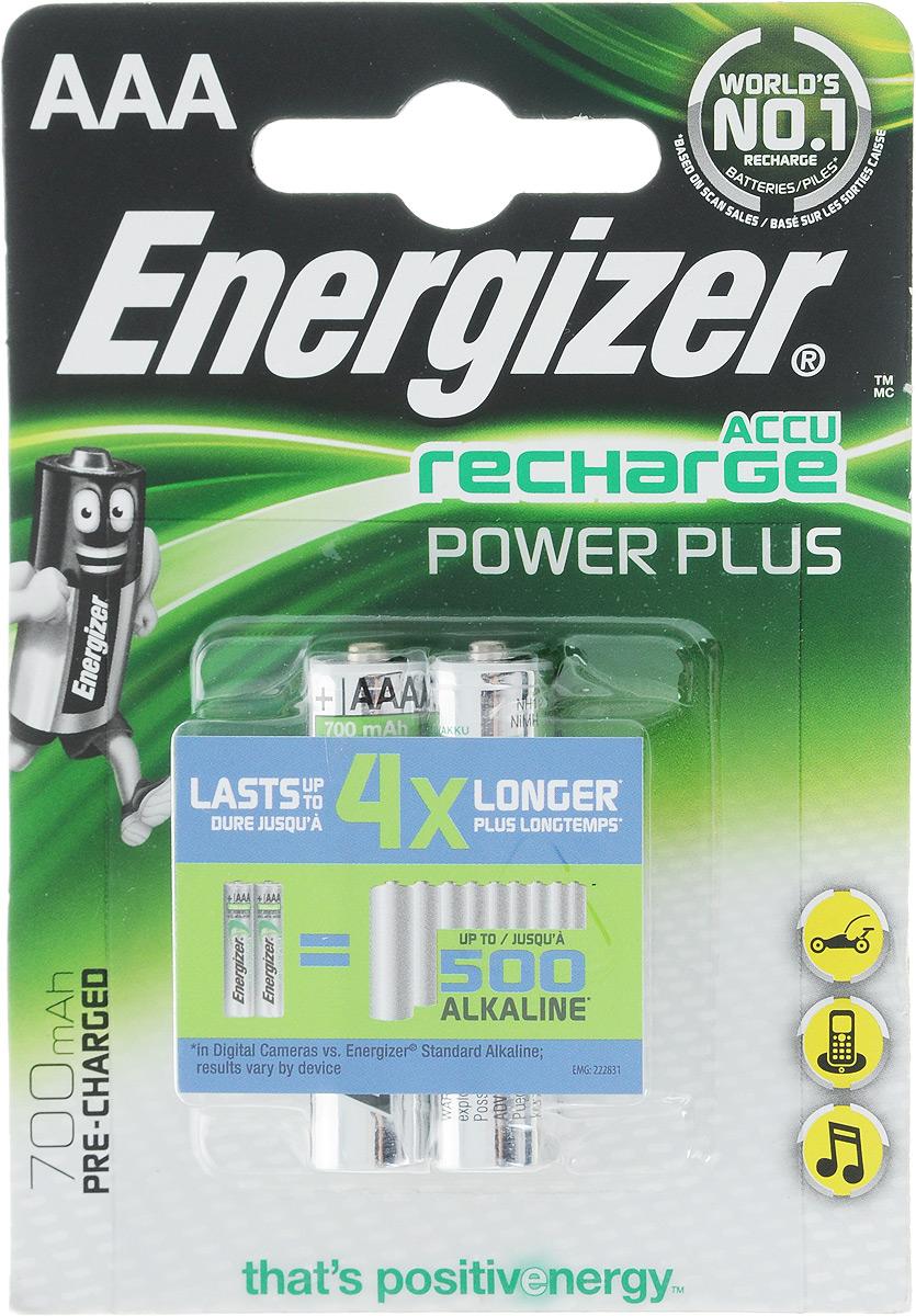 Аккумулятор Energizer Recharge Power Plus, тип AAA, 700 mAh, 2 шт. E300324200/638625/19V-01Аккумулятор Energizer Recharge Power Plus - универсальный источник энергии для постоянной работы во всех часто используемых устройствах. Бесперебойное питание, экономия денег и сокращение отходов, за счет редкой замены батареек.Никель-металлгидридные аккумуляторы Energizer Recharge Power Plus работают до 4 раз дольше в цифровых фотокамерах по сравнению с обычными щелочными батарейками. 2 аккумулятора заменяют до 500 обычных щелочных батареек в цифровых фотокамерах. Для подзарядки аккумуляторов использовать зарядные устройства Energizer или другие зарядные устройства для никель-металлгидридных аккумуляторов.- Аккумуляторы предварительно заряжены.- Длительный срок службы - до 125 цифровых фотографий с одной зарядки при использовании батареек типоразмера AAA.- Выдерживают 1000 циклов заряда, основано на стандартах МЭК.- Работают при температуре от 0°С до +50°С.