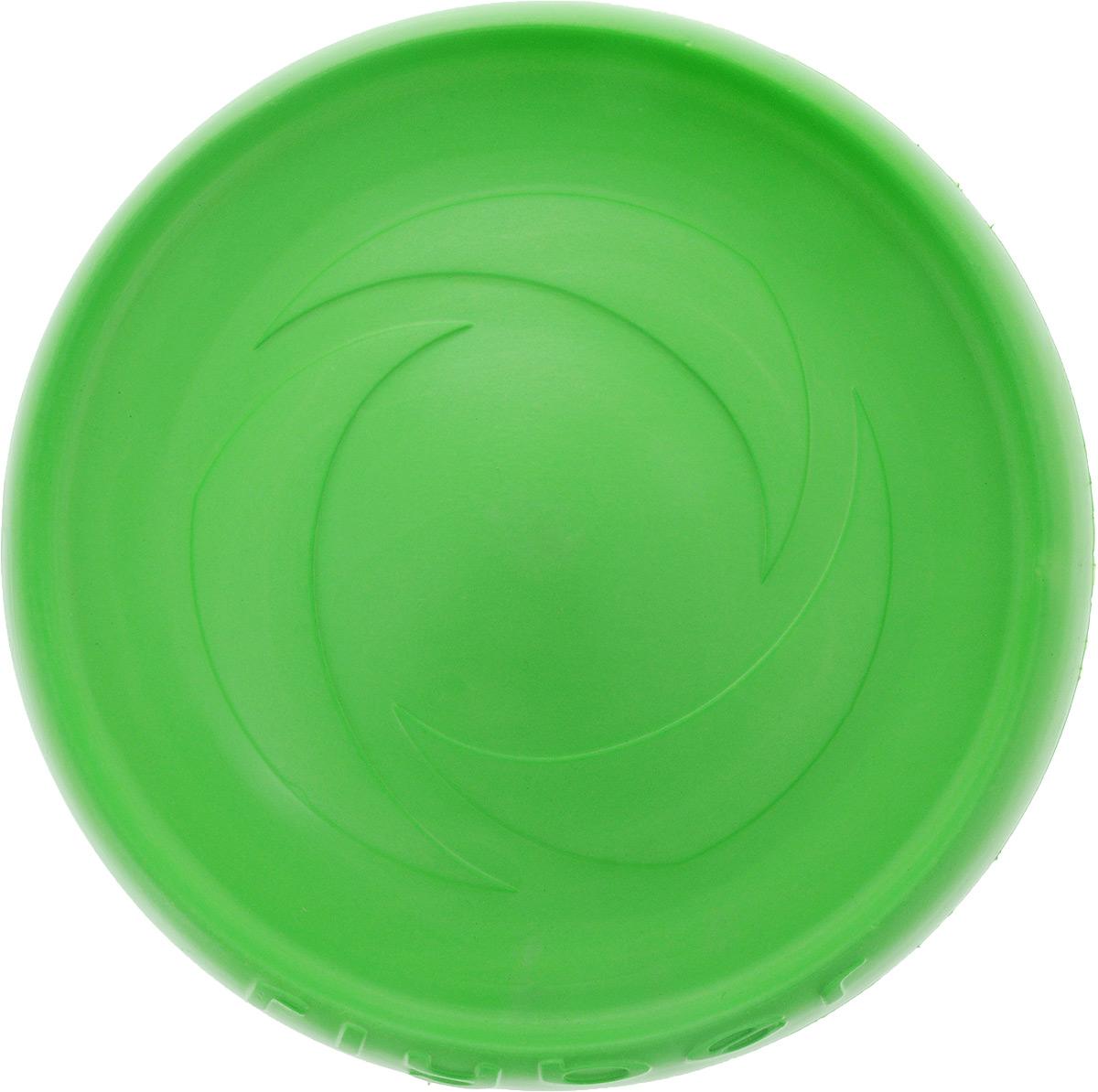 Тарелка летающая Flyber, цвет: зеленый, диаметр 22 см62175Flyber - первая двусторонняя летающая тарелка для собак и их владельцев. Благодаря оптимальному размеру, уникальной форме и материалу, она отлично подходит для игр с собаками различных пород и размеров. Даже собаки, которые ранее не проявляли интереса к играм с летающими тарелками, не смогут устоять перед Flyber. Уникальная форма легко поднимается с поверхности, не тонет в воде, не ломается, безопасна для зубов и десен собаки, подходит для игры на улице и в помещении.Диаметр тарелки: 22 см.Высота: 2,5 см.