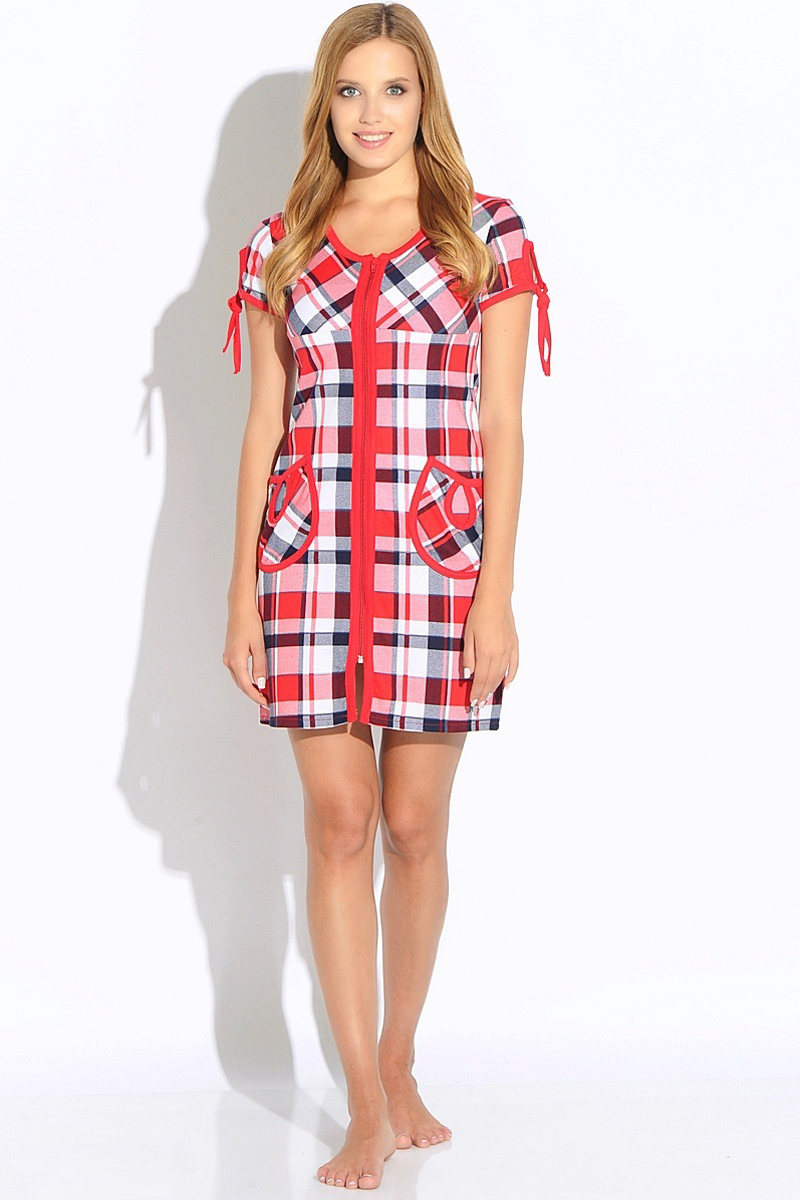 Халат женский HomeLike, цвет: красный, белый. 274. Размер 52 домашний комплект женский homelike футболка брюки цвет бирюзовый 857 размер 52