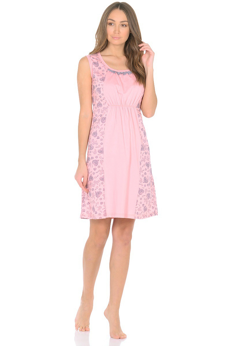 Ночная рубашка женская HomeLike, цвет: розовый, серый. 580. Размер 56580Ночная сорочка HomeLike из хлопкового трикотажа, в комбинированной расцветке. Прямой крой присобран на мягкую резиночку под грудью, округлый вырез горловины декорирован оборкой. Удобный крой без рукавов не сковывает движений во сне, мягкая хлопковая ткань приятная к телу, дышащая, гип аллергенная, комфортная.