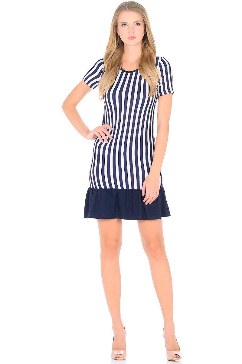 Платье HomeLike, цвет: синий, белый. 707. Размер 50707Мини-платье HomeLike приталенного силуэта выполнено из вискозного полотна в полоску с однотонной оборкой по низу. Морская тематика ни когда не выходит из модных тенденций, вертикальный принт в полоску визуально корректирует силуэт, делая фигуру стройнее. Ткань платья струящаяся, немного эластичная, хорошо пропускает воздух, создает охлаждающий эффект для тела.