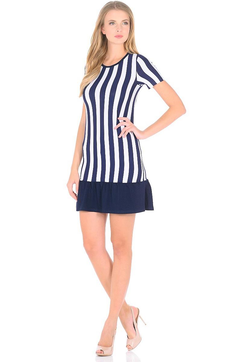 Платье HomeLike, цвет: синий, белый. 708. Размер 48708Мини-платье HomeLike приталенного силуэта выполнено из вискозного полотна в полоску с однотонной оборкой по низу. Морская тематика ни когда не выходит из модных тенденций, вертикальный принт в полоску визуально корректирует силуэт, делая фигуру стройнее. Ткань платья струящаяся, немного эластичная, хорошо пропускает воздух, создает охлаждающий эффект для тела.