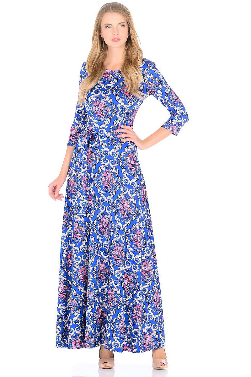 Платье HomeLike, цвет: синий, бежевый, розовый. 726. Размер 42726Роскошное платье HomeLike из струящегося вискозного полотна. Модель приталенного силуэта с расклешенной юбкой макси, вырез горловины округлый, рукава 3/4, по линии талии пояс. Платья в пол всегда популярны, модель красиво обрисовывает силуэт, скрывает возможные недостатки, визуально стройнит. Изысканный рисунок на ткани привлекает внимание, подчеркивает женственность.