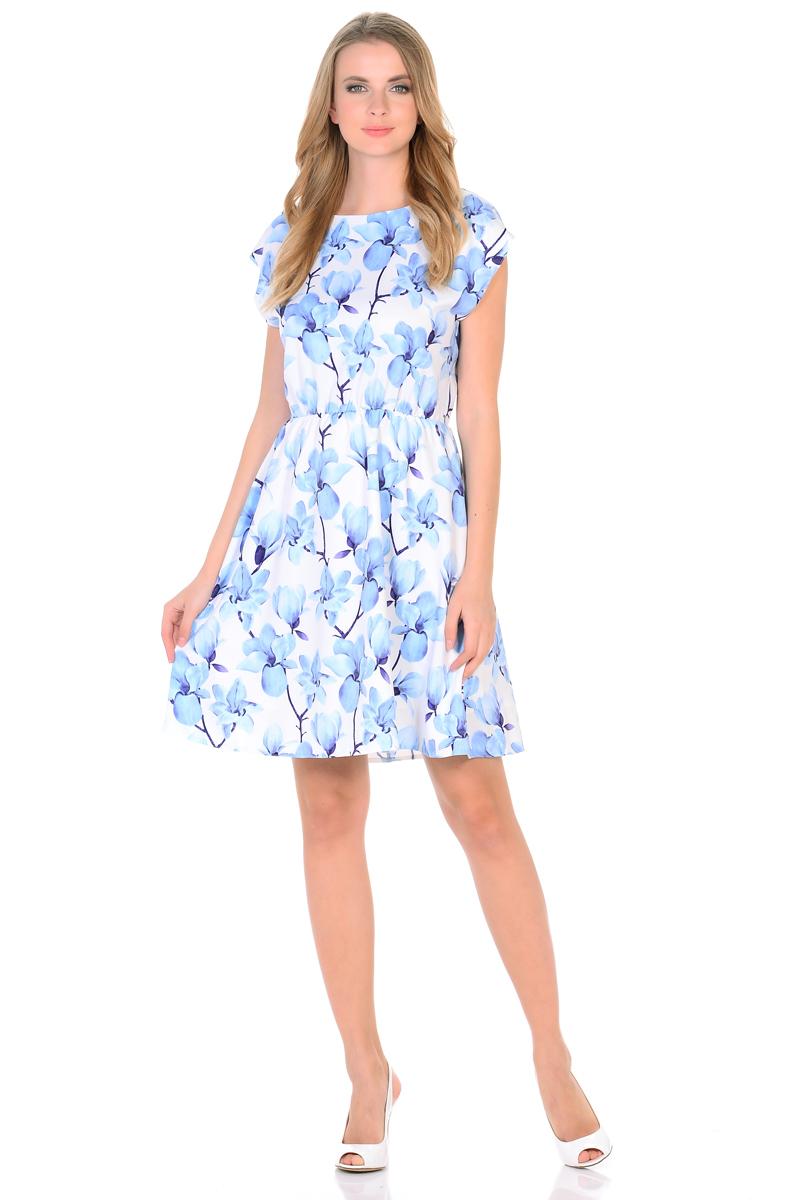 Платье HomeLike, цвет: белый, голубой. 739. Размер 50739Мини-платье от HomeLike Орхидея легкое и воздушное, с короткими цельнокроенными рукавами и округлым вырезом горловины. Женственный силуэт присобран по талии на мягкую резиночку и создает струящиеся складочки, имеющийся подъюбник выполняет эстетическую и практичную функцию, помогает сохранять красивую форму. Особое очарование платью придает объемный принт орхидеи, нежные цветы создают весеннее настроение, привлекают внимание, делая образ неповторимым и запоминающимся.