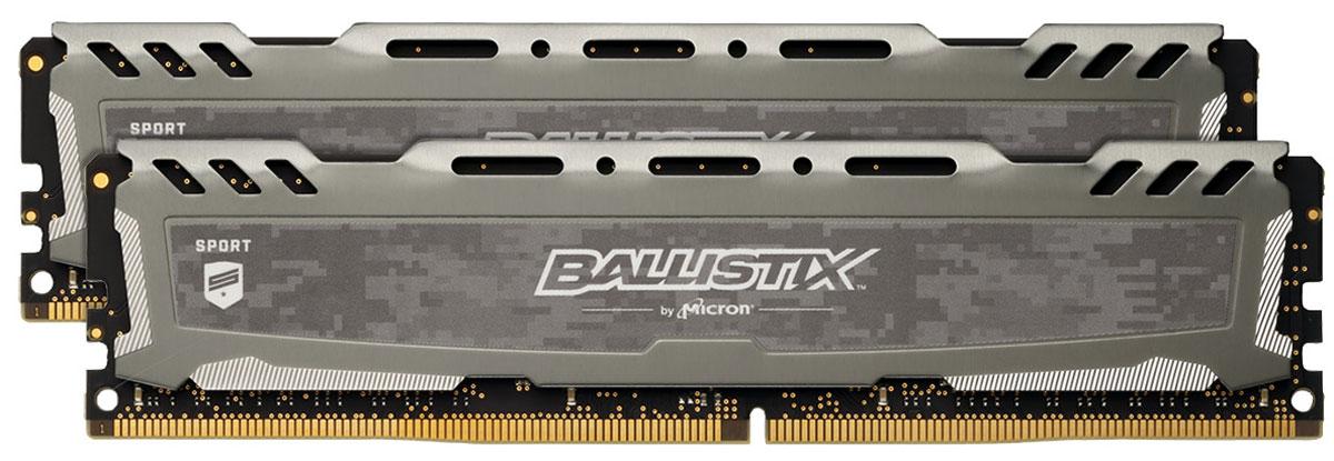 Crucial Ballistix Sport LT DDR4 2х8Gb 2400 МГц, Gray комплект модулей оперативной памяти (BLS2C8G4D240FSB)BLS2C8G4D240FSBКомплект модулей оперативной памяти Crucial Ballistix Sport LT типа DDR4 обеспечивает увеличенную рабочую частоту (по сравнению с предыдущем поколением) при сниженном тепловыделении и экономном энергопотреблении. Благодаря низкому напряжению (1,2 В), снижается потребление энергии, что обеспечивает отсутствие нагрева и бесшумную работу ПК. Теплоотвод выполнен из чистого алюминия, что ускоряет рассеяние тепла.Общий объем памяти в 16 ГБ позволит свободно работать со стандартными, офисными и профессиональными ресурсоемкими программами, а также современными требовательными играми. Работа осуществляется при тактовой частоте 2400 МГц и пропускной способности, достигающей до 19200 Мб/с, что гарантирует качественную синхронизацию и быструю передачу данных, а также возможность выполнения множества действий в единицу времени. Параметры тайминга 16-16-16 гарантируют быструю работу системы. Имеется поддержка XMP 2.0 для удобного разгона в автоматическом режиме.