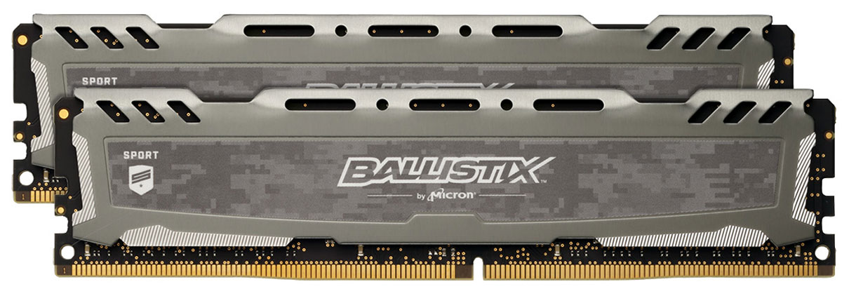 все цены на Crucial Ballistix Sport LT DDR4 2х8Gb 2400 МГц, Gray комплект модулей оперативной памяти (BLS2C8G4D240FSB) онлайн