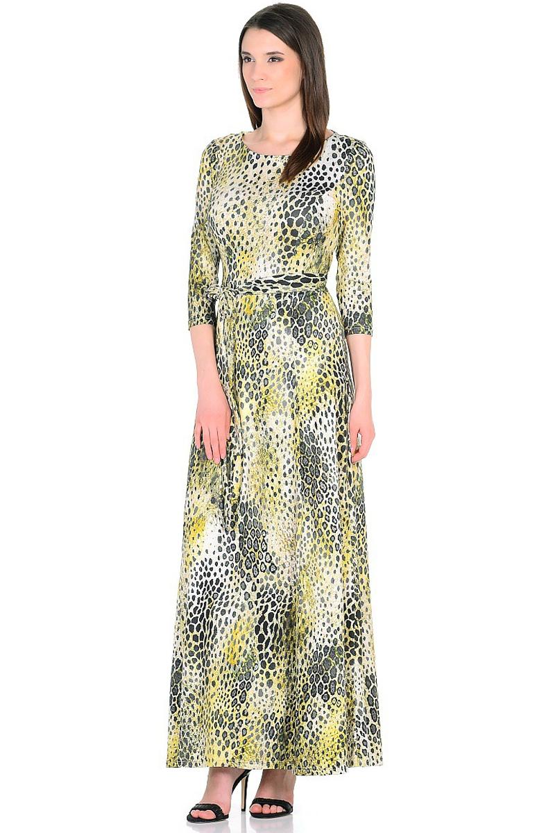 Платье HomeLike, цвет: молочный, черный, зеленый. 811. Размер 46811Элегантное платье HomeLike выполнено из струящегося полотна с высоким содержанием вискозы. Модель рельефного покроя до талии и с расклешенной юбкой макси, вырез горловины округлый, рукава 3/4, талию подчеркивает пояс завязка. Платья в пол очень популярны, модель красиво обрисовывает силуэт, скрывает возможные недостатки, визуально стройнит. Изысканный рисунок на ткани украшает и привлекает внимание, придает образу еще больше очарования.