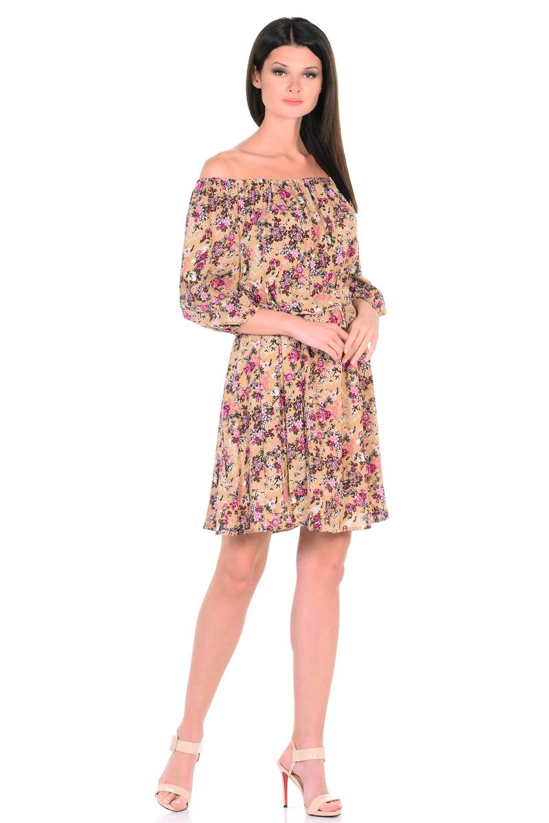 Платье HomeLike, цвет: бежевый, розовый. 815. Размер 46815Восхитительное платье HomeLike из струящегося невесомого материала в изысканной расцветке. Модель с расклешенной юбкой. Глубокий вырез горловины, основания рукавов 3/4 и линия талии присобраны на мягкие резиночки, придавая эффект легкой воздушности. При желании можно обнажить плечи. Пояс придает свою изюминку, делая образ более совершенным. Это прекрасное платье дарит ощущения легкости и комфорта в процессе носки, модель безупречно садится на фигуру любого типа, скрывает возможные несовершенства, подчеркивает красоту и женственность.