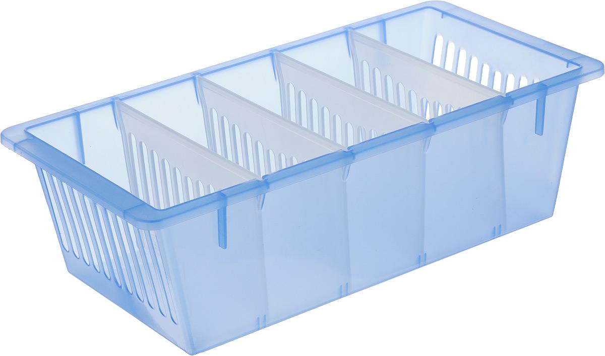 """Контейнер для специй """"Полимербыт"""", изготовленный из высококачественного прочного полипропилена, оснащен переставными перегородками. Стенки контейнера снабжены высокими бортиками. Контейнер с пятью отделениями внутри идеально подходит для хранения различных специй в пакетиках.  Практичный контейнер пригодится в любом хозяйстве и поможет аккуратно хранить все приправы.Размер отделения: 12,5 х 5 х 8,5 см."""