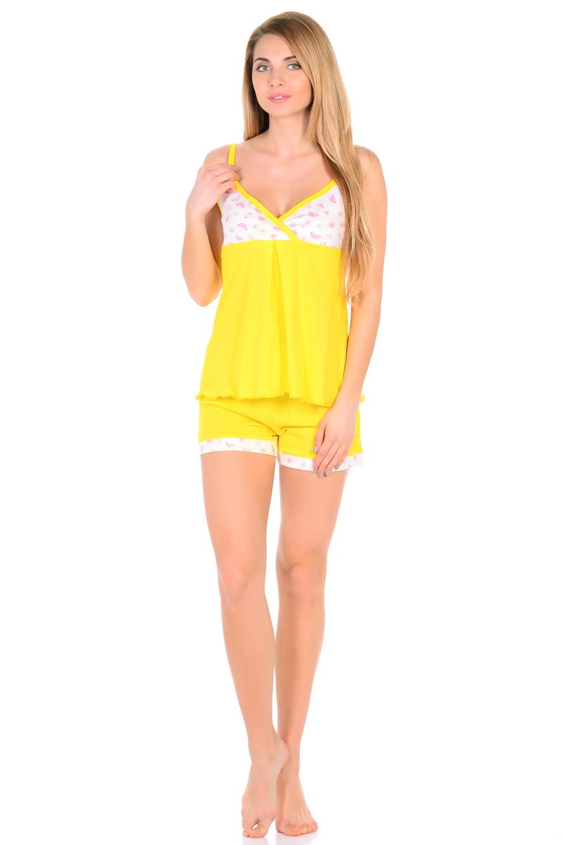 Домашний комплект женский HomeLike: топ, шорты, цвет: желтый. 828. Размер 60828Комплект домашней одежды HomeLike, состоящий из топа и шорт, выполнен из трикотажа в яркой привлекательной расцветке. Топ на тонких бретелях, с принтованной кокеткой на запах, свободного покроя с легкими складочками от нее. Линия низа обработана волнообразным окантовочным швом. Шорты с мягкой резинкой в поясе, низ дополнен контрастной планкой в тон кокетки. Комплект красиво смотрится, идеально сидит, дарит легкость, свободу движениям и оптимальный комфорт в процессе носки.