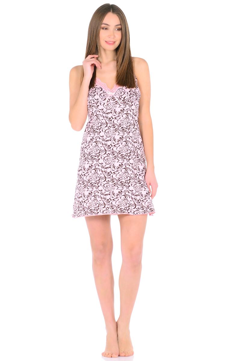 Ночная рубашка женская HomeLike, цвет: персиковый, коричневый. 829. Размер 46829Трикотажная ночная сорочка HomeLike в красивой расцветке. Изящная модель трапециевидного покроя, на бретелях, вырез декольте обрамлен нежным кружевом с декором атласной ленточкой. Линия низа обработана окантовочным швом. Мягкий хлопковый трикотаж приятен для тела, удобный крой не сковывает движений, в такой сорочке обеспечен спокойный и полноценный отдых и сон.