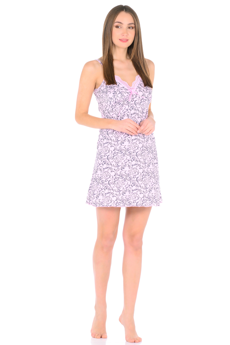 Ночная рубашка женская HomeLike, цвет: розовый, серый. 829. Размер 44829Трикотажная ночная сорочка HomeLike в красивой расцветке. Изящная модель трапециевидного покроя, на бретелях, вырез декольте обрамлен нежным кружевом с декором атласной ленточкой. Линия низа обработана окантовочным швом. Мягкий хлопковый трикотаж приятен для тела, удобный крой не сковывает движений, в такой сорочке обеспечен спокойный и полноценный отдых и сон.