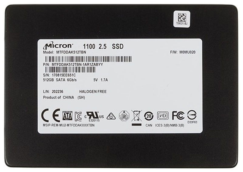 Crucial Micron 1100 512GB SSD-накопитель (MTFDDAK512TBN-1AR1ZABYY) накопитель ssd a data adata ultimate su800 512gb asu800ss 512gt c