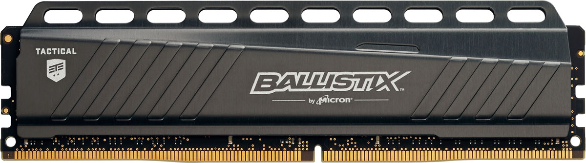 Crucial Ballistix Tactical DDR4 4Gb 3000 МГц модуль оперативной памяти (BLT4G4D30AETA)BLT4G4D30AETAМодуль оперативной памяти Crucial Ballistix Tactical типа DDR4 обеспечивает увеличенную рабочую частоту (по сравнению с предыдущем поколением) при сниженном тепловыделении и экономном энергопотреблении. Благодаря низкому напряжению (1,35 В), снижается потребление энергии, что обеспечивает отсутствие нагрева и бесшумную работу ПК. Теплоотвод выполнен из чистого алюминия, что ускоряет рассеяние тепла.Работа осуществляется при тактовой частоте 3000 МГц и пропускной способности, достигающей до 24000 Мб/с, что гарантирует качественную синхронизацию и быструю передачу данных, а также возможность выполнения множества действий в единицу времени. Параметры тайминга 15-16-16 гарантируют быструю работу системы. Память оптимизирована для материнских платах серии X99. Имеется поддержка XMP 2.0 для удобного разгона в автоматическом режиме.