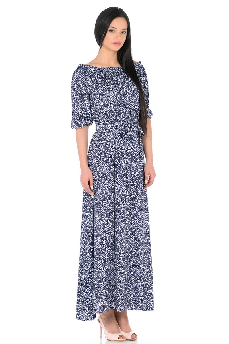 Платье HomeLike, цвет: темно-синий, белый, голубой. 848. Размер 50848Женственное платье HomeLike выполнено из вискозной невесомой ткани в изысканной расцветке. Модель с расклешенной юбкой макси, изящный вырез кармен. Основания рукавов 3/4 и линия талии присобраны на мягкие резиночки, придавая эффект легкой воздушности. При желании можно обнажить плечи. Пояс придает свою изюминку, делая образ более совершенным. Это прекрасное платье дарит ощущения легкости и комфорта в процессе носки, модель безупречно садится на фигуру любого типа, скрывает возможные несовершенства, визуально стройнит, подчеркивает красоту и женственность.