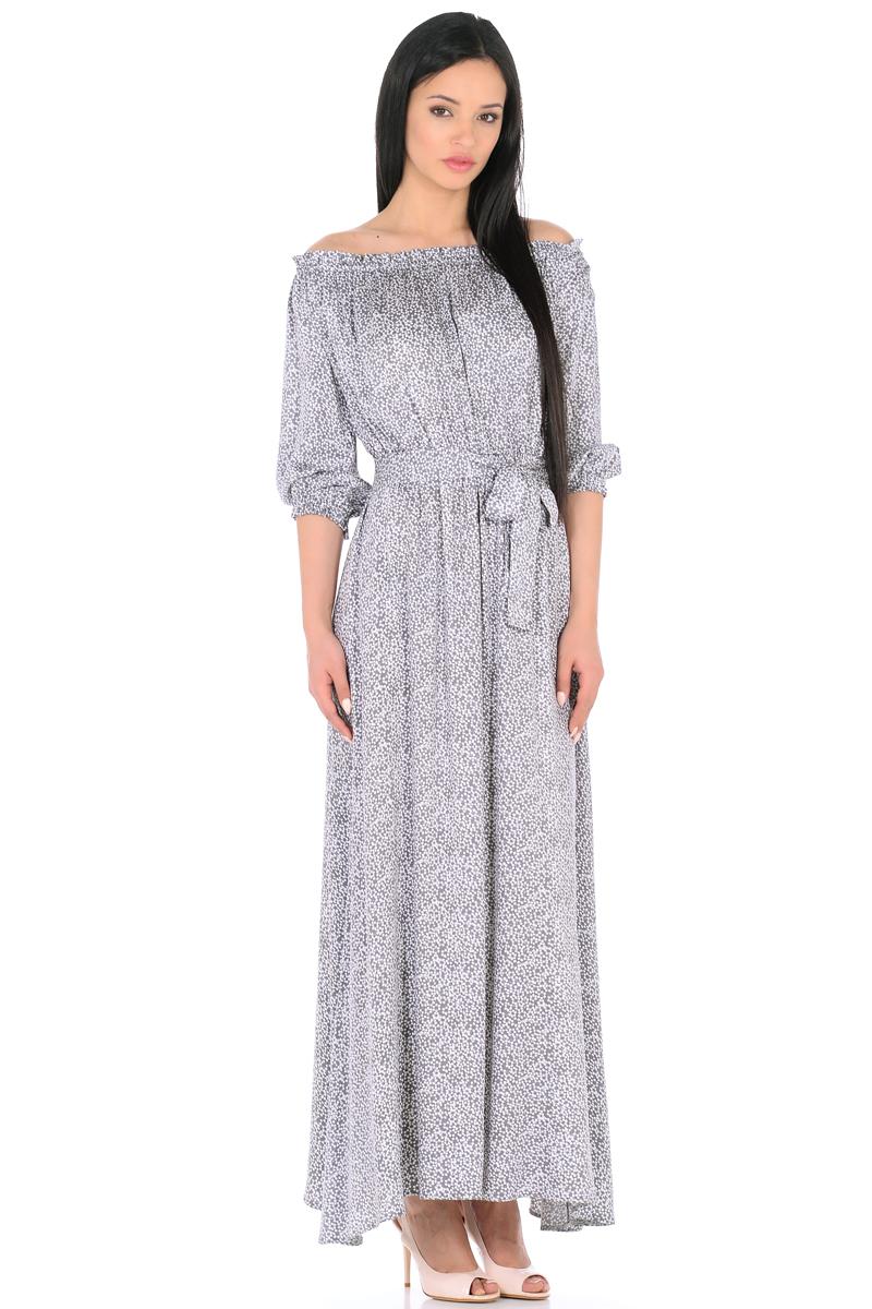 Платье HomeLike, цвет: серый, белый. 848. Размер 42848Женственное платье HomeLike выполнено из вискозной невесомой ткани в изысканной расцветке. Модель с расклешенной юбкой макси, изящный вырез кармен. Основания рукавов 3/4 и линия талии присобраны на мягкие резиночки, придавая эффект легкой воздушности. При желании можно обнажить плечи. Пояс придает свою изюминку, делая образ более совершенным. Это прекрасное платье дарит ощущения легкости и комфорта в процессе носки, модель безупречно садится на фигуру любого типа, скрывает возможные несовершенства, визуально стройнит, подчеркивает красоту и женственность.