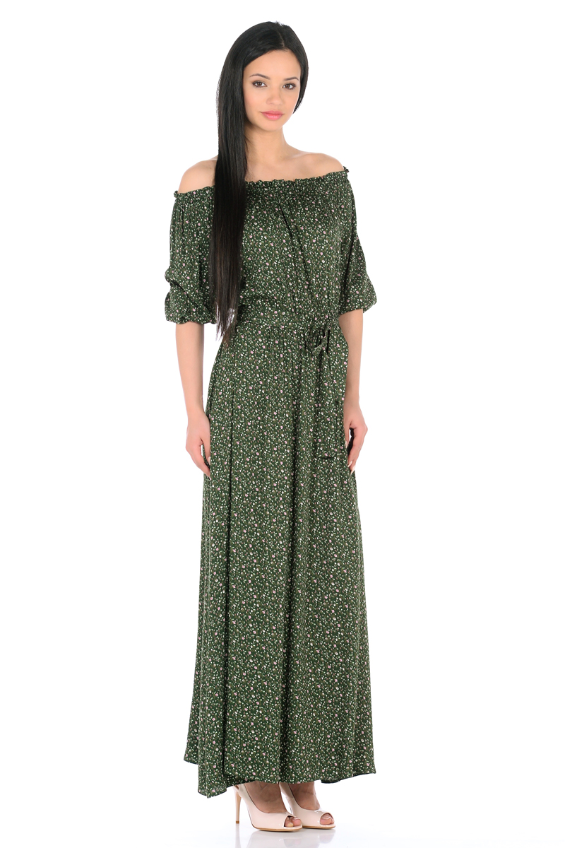 Платье HomeLike, цвет: зеленый, розовый. 848. Размер 50848Женственное платье HomeLike выполнено из вискозной невесомой ткани в изысканной расцветке. Модель с расклешенной юбкой макси, изящный вырез кармен. Основания рукавов 3/4 и линия талии присобраны на мягкие резиночки, придавая эффект легкой воздушности. При желании можно обнажить плечи. Пояс придает свою изюминку, делая образ более совершенным. Это прекрасное платье дарит ощущения легкости и комфорта в процессе носки, модель безупречно садится на фигуру любого типа, скрывает возможные несовершенства, визуально стройнит, подчеркивает красоту и женственность.
