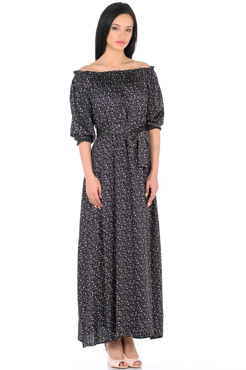 Платье HomeLike, цвет: темно-синий, розовый, зеленый. 848. Размер 50848Женственное платье HomeLike выполнено из вискозной невесомой ткани в изысканной расцветке. Модель с расклешенной юбкой макси, изящный вырез кармен. Основания рукавов 3/4 и линия талии присобраны на мягкие резиночки, придавая эффект легкой воздушности. При желании можно обнажить плечи. Пояс придает свою изюминку, делая образ более совершенным. Это прекрасное платье дарит ощущения легкости и комфорта в процессе носки, модель безупречно садится на фигуру любого типа, скрывает возможные несовершенства, визуально стройнит, подчеркивает красоту и женственность.