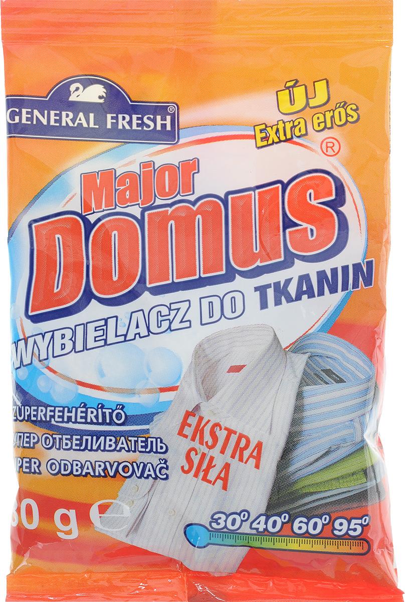 Суперотбеливатель General Fresh Major Domus, для тканей, оптический, 80 г586200Суперотбеливатель General Fresh Major Domus - это активная формула нового поколения, которая возвращает снежную белизну пожелтевшим и серым тканям. Отбеливатель позволяет также удалить стойкие и засохшие пятна. Грязную одежду, скатерть, постельное белье,прежде чем поместить в стиральную машину, нужно замочить в воде с добавлением отбеливателя для тканей. Для того, чтобы освежить белое отбеливатель можно добавлять в стиральный порошок. Отбеливатель для тканей General Fresh Major Domus не содержит хлора.Товар сертифицирован.