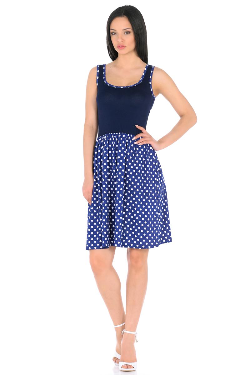 Платье HomeLike, цвет: синий, белый. 852. Размер 48852Мини-платье HomeLike комбинированное, с приталенным верхом и с расклешенной юбкой. Модель без рукавов, с округлым вырезом по горловине, отрезная линия талии дополнена мягкой резиночкой для наилучшей посадки по фигуре. Симпатичный рисунок на юбке платья, и такая же окантовка по горловине украшают лаконичный фасон. Мягкие ткани приятны для тела, удобный крой не сковывает движений, создает ощущения легкости и комфорта.