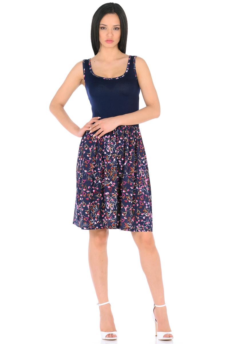 Платье HomeLike, цвет: темно-синий, розовый. 852. Размер 48852Мини-платье HomeLike комбинированное, с приталенным верхом и с расклешенной юбкой. Модель без рукавов, с округлым вырезом по горловине, отрезная линия талии дополнена мягкой резиночкой для наилучшей посадки по фигуре. Симпатичный рисунок на юбке платья, и такая же окантовка по горловине украшают лаконичный фасон. Мягкие ткани приятны для тела, удобный крой не сковывает движений, создает ощущения легкости и комфорта.