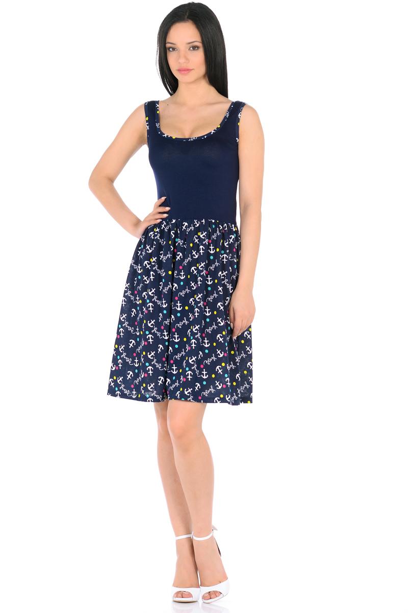 Платье HomeLike, цвет: темно-синий, белый, бирюзовый. 852. Размер 40852Мини-платье HomeLike комбинированное, с приталенным верхом и с расклешенной юбкой. Модель без рукавов, с округлым вырезом по горловине, отрезная линия талии дополнена мягкой резиночкой для наилучшей посадки по фигуре. Симпатичный рисунок на юбке платья, и такая же окантовка по горловине украшают лаконичный фасон. Мягкие ткани приятны для тела, удобный крой не сковывает движений, создает ощущения легкости и комфорта.