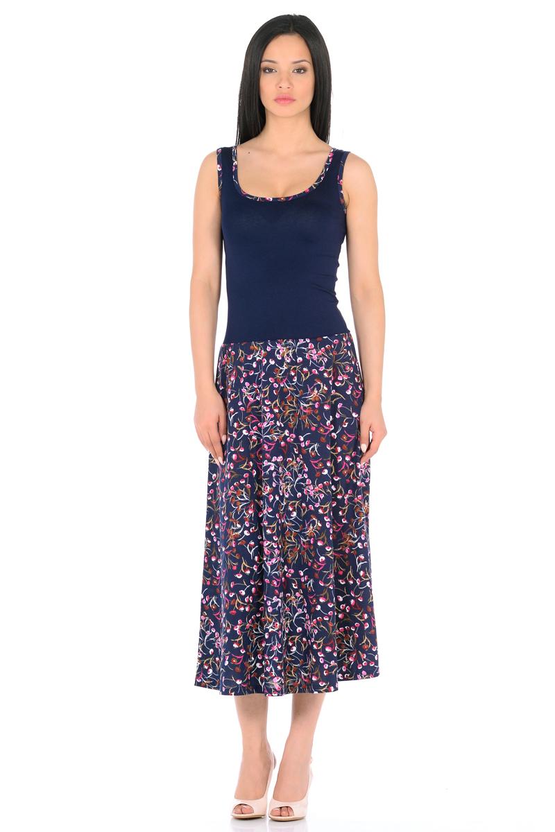 Платье HomeLike, цвет: темно-синий, розовый. 853. Размер 46853Платье HomeLike с приталенным верхом и с расклешенной юбкой миди из хлопкового полотна. Модель без рукавов, с округлым вырезом по горловине, отрезная линия талии дополнена мягкой резиночкой для наилучшей посадки по фигуре. Симпатичный рисунок на юбке платья, очень украшают лаконичный фасон. Мягкие ткани приятны для тела, удобный крой не сковывает движений, создает ощущения легкости и комфорта.