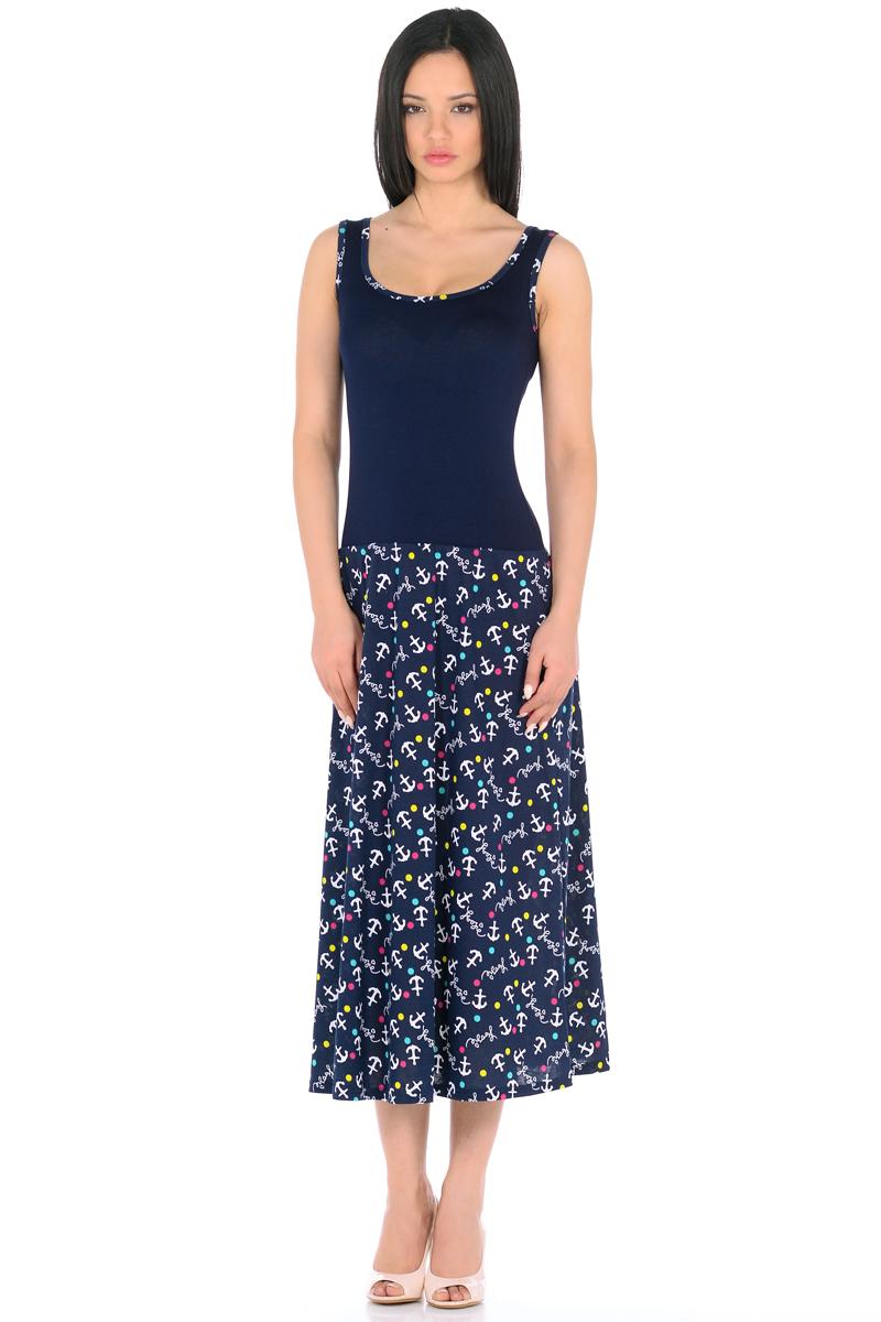 Платье HomeLike, цвет: темно-синий, белый, бирюзовый. 853. Размер 48853Платье HomeLike с приталенным верхом и с расклешенной юбкой миди из хлопкового полотна. Модель без рукавов, с округлым вырезом по горловине, отрезная линия талии дополнена мягкой резиночкой для наилучшей посадки по фигуре. Симпатичный рисунок на юбке платья, очень украшают лаконичный фасон. Мягкие ткани приятны для тела, удобный крой не сковывает движений, создает ощущения легкости и комфорта.