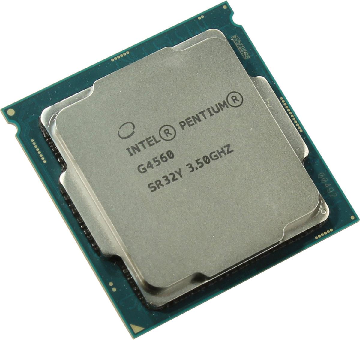 Intel Pentium G4560 процессор410642Intel Pentium G4560 - процессор для настольных персональных компьютеров, основанных на платформе Intel.В основе лежит архитектура Kaby Lake, что позволяет оптимизировать работу двух ядер и 4 потоков, функционирующих на частоте 3500 МГц. Дополнительное быстродействие обеспечивается кэш-памятью третьего уровня объемом 3072 КБ. Обработка изображения перед демонстрацией его на мониторе ПК осуществляется графическим процессором Intel HD Graphics 610.Для двусторонней передачи данных между Pentium G4560 и оперативной памятью компьютера предусмотрен встроенный контроллер, поддерживающий модули размером до 64 ГБ. Также в данной модели установлены контроллер PCI-E 3.0 и системная шина DMI 3.0, которые используются для связи с другими элементами ПК.