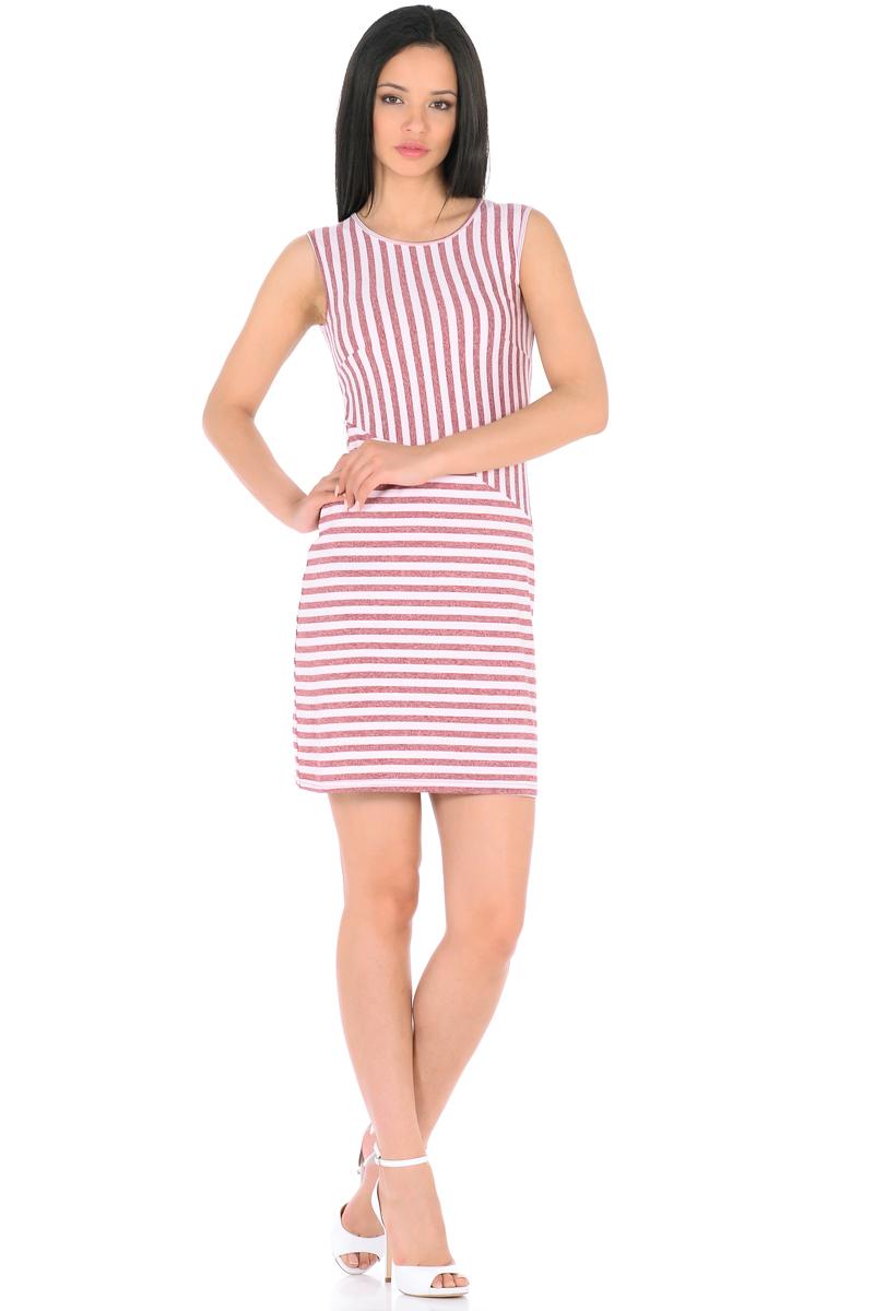Платье HomeLike, цвет: бледно-розовый, бордовый. 855. Размер 50855Трикотажное платье-мини HomeLike в полоску, полуприталенного силуэта, без рукавов, с округлым вырезом горловины. Ассиметричное соединение верха и низа, образует геометрический рисунок, который визуально корректирует силуэт. Благодаря приятной ткани с высоким содержанием вискозы и правильному крою с вытачками, платье отлично садится по фигуре, обеспечивая комфорт, легкость и свободу движениям.