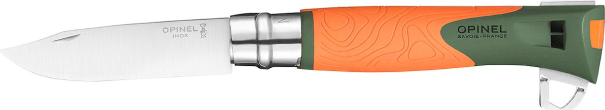 Нож Opinel Specialists Explore №12, клинок 10 см, цвет: оранжевый, серый1974Нож Opinel Explore изготовлен из нержавеющей стали с пластиковой рукояткой. Нож дополнен свистком, огнивом и стропорезом. Новинка от компании Opinel нож Explore позиционируется как универсальная модель для туризма, альпинизма, охоты и рыбалки. Нож с удобным и функциональным клинком, прочной рукояткой и дополнительными функциями.Главные отличие ножа Opinel Specialist от традиционного:1. Для изготовления рукоятки используется двухцветный прочный пластик, поэтому такой нож легко заметить на снегу, в траве или на камнях. Кроме того, в отличие от древесины, пластиковая рукоятка не впитывает влагу и не разбухает.2. Нож Opinel Specialist оснащен специальным лезвием. Оно несколько толще, а значит, прочнее, обычного.3. Инженеры компании Opinel наделили свое изделие спасательной функцией - такой нож оснащен свистком, способном воспроизводить очень громкий звук (до 110 дБ), что более чем достаточно для привлечения к себе внимания спасателей в экстренном случае.Новая модель Opinel Explore объединяет традиционную складную конструкцию с удобным рабочим клинком из нержавеющей стали, эргономичная рукоять из полиамида с противоскользящей зоной и дополнительный набор функций, которые могут пригодиться в полевых условиях. Рукоять устойчивая к ударам, экстремальным температурам (от -40 до 80 °C) и влажности.Клинок ножа Opinel Explore изготовлен из нержавеющей стали марки Sandvic 12С27 (на клинке обозначается как inox). Этот тип стали крайне устойчив к коррозии и сравнительно легко поддается правке. Также, благодаря содержанию 0,4% карбона, клинки из этой стали довольно долго держат заточку, что в условиях похода является огромным плюсом. Нож Opinel Explore оснащен замком virobloc. Данный замок отлично себя зарекомендовал и используется в раскладных ножах Opinel более 50 лет. Дополнительно нож оснащен свистком, рядом со свистком расположены огниво и крюк, которым можно резать ткань и веревку. С другой стороны, э