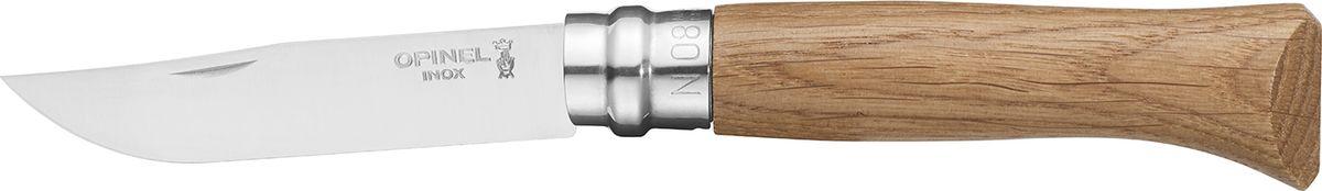 Нож Opinel Tradition Luxury №08, рукоять дуб, цвет: светло-коричневый2021Нож Opinel изготовлен из нержавеющей стали, рукоятка - из натурального дуба. Идеальный карманный нож для пикника, барбекю, походов, охоты и рыбалки. Характеристики. Материал лезвия: сталь Sandvik 12C27.Материал рукояти: дуб. Тип ножевого замка: Viroblock. Приспособление для открытия клинка: насечка на лезвии. Длина лезвия, см: 8,5. Длина ножа, см: 19. Ширина лезвия, см: 1,73. Длина в сложенном положении, см: 11. Вес, гр: 48. Viroblock - оригинальное запорное устройство, представляющее собой кольцо с прорезью, которое, будучи повернуто относительно оси ножа, упирается в пятку клинка и не дает ножу самопроизвольно складываться при работе или раскладываться в кармане. Конструкция эта защищена патентом и устанавливается на ножи Opinel с 1955 года, начиная с модели № 6. Французская форма Opinel - производитель ножей с 1890 года. Удачная конструкция ножей обеспечила фирме не только длительное существование, но и всемирную славу. Ножи Opinel являются символом Франции. Классический нож этого типа - рукоять из дерева, металлическая втулка, ось, клинок и поворотное кольцо. Такая простота наряду с малой ценой и отличным качеством - вот рецепт успеха этих ножей. Наиболее распространены ножи с поворотным кольцом, которое фиксирует клинок в двух положениях.