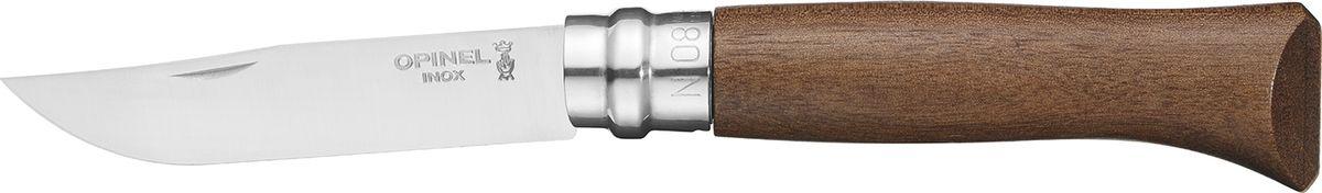 Нож Opinel Tradition Luxury №08, рукоять орех, цвет: коричневый