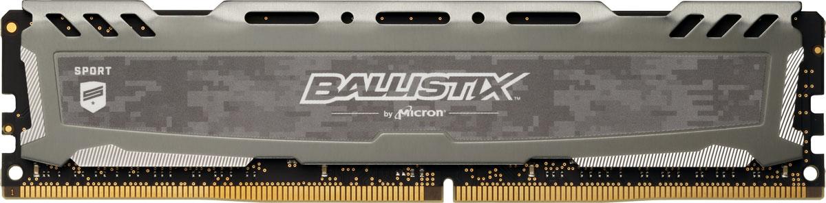Crucial Ballistix Sport LT DDR4 8Gb 2666 МГц, Gray модуль оперативной памяти (BLS8G4D26BFSBK)BLS8G4D26BFSBKМодуль оперативной памяти Crucial Ballistix Sport LT типа DDR4 обеспечивает увеличенную рабочую частоту (по сравнению с предыдущем поколением) при сниженном тепловыделении и экономном энергопотреблении. Благодаря низкому напряжению (1,2 В), снижается потребление энергии, что обеспечивает отсутствие нагрева и бесшумную работу ПК. Теплоотвод выполнен из чистого алюминия, что ускоряет рассеяние тепла.Объем памяти в 8 ГБ позволит свободно работать со стандартными, офисными и профессиональными ресурсоемкими программами, а также современными требовательными играми. Работа осуществляется при тактовой частоте 2666 МГц и пропускной способности, достигающей до 21300 Мб/с, что гарантирует качественную синхронизацию и быструю передачу данных, а также возможность выполнения множества действий в единицу времени. Параметры тайминга 16-18-18-38 гарантируют быструю работу системы. Имеется поддержка XMP 2.0 для удобного разгона в автоматическом режиме.