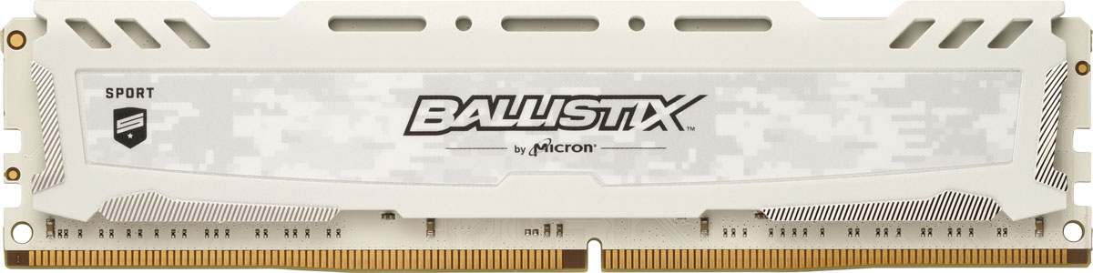 Crucial Ballistix Sport LT DDR4 8Gb 2666 МГц, White модуль оперативной памяти (BLS8G4D26BFSCK) модуль оперативной памяти пк crucial ct25664bd160bj ct25664bd160bj