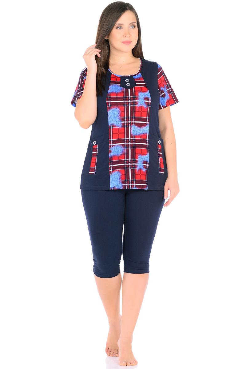 Домашний комплект женский HomeLike: футболка, бриджи, цвет: темно-синий, красный, голубой. 878. Размер 52878Комплект домашней одежды HomeLike, состоящий из футболки и бридж, выполнен из трикотажного полотна. Футболка прямого покроя в комбинированной расцветке, с короткими рукавами, с округлым вырезом горловины, в рельефах практичные накладные карманы с декором пуговицами, вырез оформлен декоративной планкой с двумя пуговицами. Бриджи прямого покроя, ниже колена, с поясом на резинке. Сочетая комфортные характеристики в носке и современный дизайн, данный комплект удобен в качестве одежды для дома и дачи, а так же подойдет и для летних прогулок или отдыха на природе.
