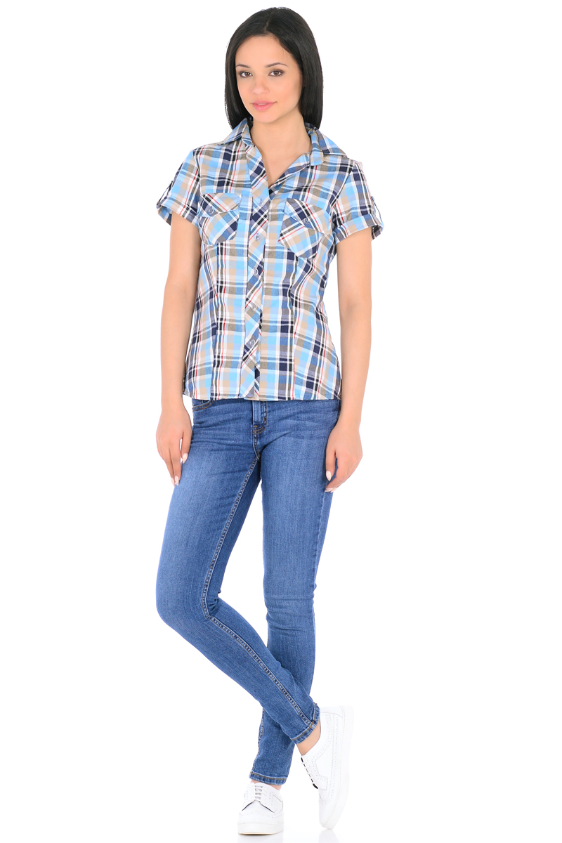 Рубашка женская HomeLike, цвет: голубой, бежевый. 881. Размер 50881Стильная рубашка в клетку HomeLike приталенная, с короткими рукавами, с отложным воротником. Передняя планка застегивается на пуговицы. На полочках накладные карманы. Рукава дополнены патами с пуговицами. Спинка с высокой кокеткой. Хлопковый текстиль, безупречный пошив, правильный крой с рельефами обеспечивают отличную посадку по фигуре и комфорт в процессе носки.