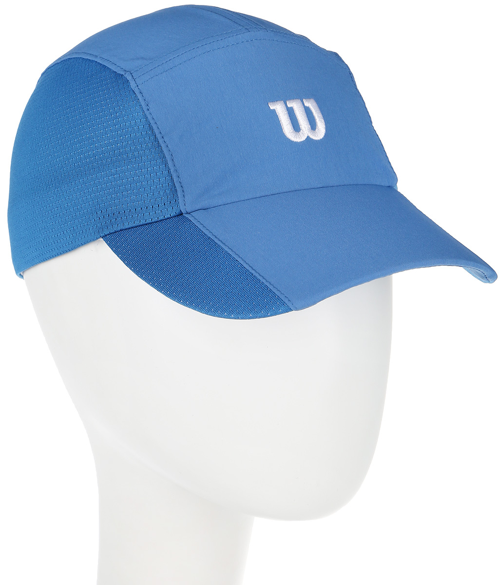 Бейсболка для тенниса Wilson Rush Stretch Woven Cap, цвет: голубой. WR5004005. Размер универсальныйWR5004005Бейсболка Wilson является отличным аксессуаром для занятий спортом. Удобная и практичная, она обеспечит вам надежную защиту от неблагоприятных погодных условий. Вентиляционные отверстия и эластичный край для комфортной посадки.