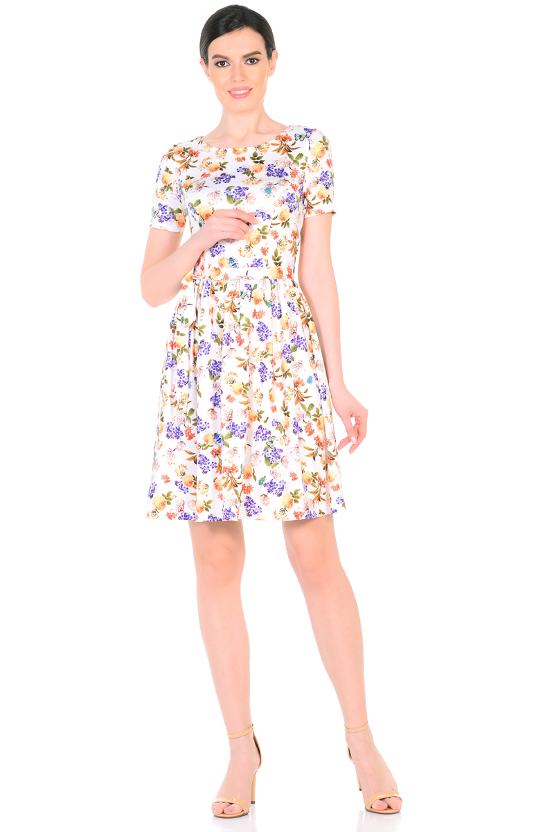 Платье HomeLike, цвет: молочный, коралловый, сиреневый. 885. Размер 46885Женственное весенне-летнее платье HomeLike выполнено из струящегося материала масло в изысканной расцветке. Модель с приталенным верхом с рельефами и с расклешенной юбкой. Рукава короткие. Вырез горловины округлый. Лини талии дополнена мягкой формирующей резиночкой. Пояс завязка придает изюминку. Платье безупречно садится по фигуре, подчеркивает достоинства. Ткань приятная к телу, струится, плавно повторяя формы и изгибы тела. Красивая расцветка освежает, привлекает внимание, придавая образу еще больше очарования.