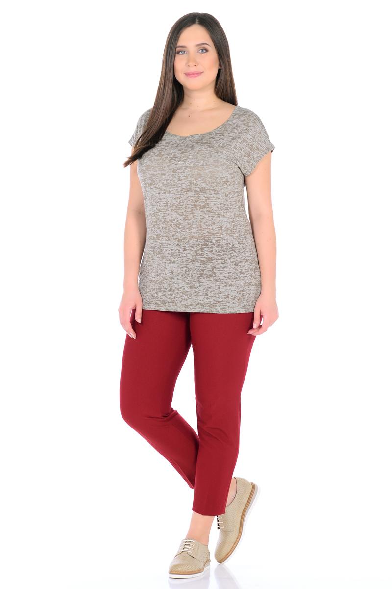 Футболка женская HomeLike, цвет: серый, оливковый. 890. Размер 52890Легкая футболка HomeLike прямого покроя, с цельнокроеными короткими рукавами, с широким округлым вырезом горловины. Низ спинки немного удлинен, в боковых швах разрезы. На груди имитация кармана. Модель выполнена из тонкого трикотажного полотна, ткань невесомая, приятная к телу. Футболка сочетается практически с любым низом, позволяя с легкостью создавать множество стильных образов на каждый день.