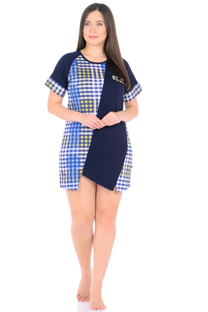 Платье домашнее HomeLike, цвет: темно-синий, голубой, желтый. 893. Размер 62893Оригинальное платье HomeLike для домашнего гардероба. Прямой удобный покрой в комбинированной расцветке, с ассиметричными вставками и фигурным низом хорошо садится по фигуре, визуально корректирует силуэт, обеспечивает свободу движениям. Короткие рукава реглан дополнены контрастными манжетами с разрезами. Округлый вырез горловины подчеркнут контрастной окантовкой. На одной из полочек имитация кармана с декором пуговицей. Такое платье украсит ваш домашний образ своим оригинальным дизайном, и порадует комфортными характеристиками в носке.