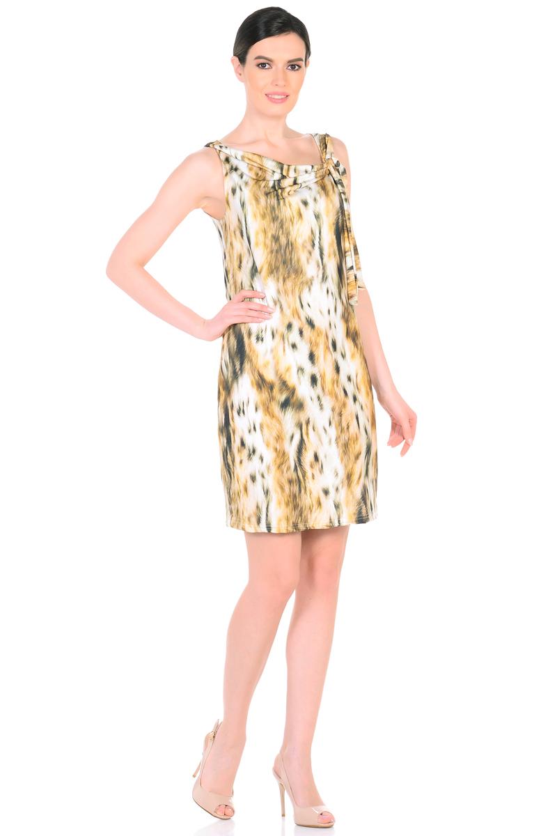 Платье HomeLike, цвет: светло-бежевый, серо-зеленый. 901. Размер 52901Женственное платье HomeLike из приятного к телу материала масло. Модель полуприталенного покроя, без рукавов. Элегантный вырез водопад изысканно украшает, тонкий шарф завязка придает изюминку. Красивый рисунок на ткани привлекает внимание. Платье безупречно садится по фигуре, плавно обрисовывая женственный силуэт, подчеркивает достоинства.