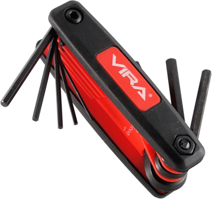 Набор складных шестигранных ключей Vira, 8 ключей. 303144303144Набор складных шестигранных ключей Vira выполнен пластиковом держателе. В набор входят 8 ключей с размерами: 1,5 мм, 2 мм, 2,5 мм, 3 мм, 4 мм, 5 мм, 6 мм, 8 мм, а также пластиковый держатель. Линейка размеров включает в себя часто используемые и необходимые размеры. Ключи, выполненные из высококачественного металла, оптимизированы для работы в труднодоступных местах. Удлиненные ключи могут использоваться под разными углами, а ручка позволяет делать более удобный захват. Набор отлично подойдет как для авторемонта, так и для обычных бытовых задач, например, для сборки мебели.