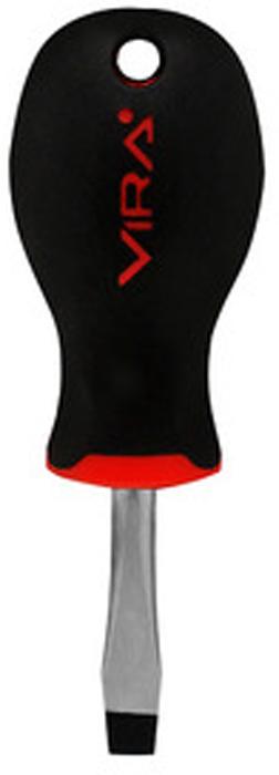 Отвертка Vira, прямая, SL6 х 38 мм. 391133391133Отвертка Vira с эргономичной двухкомпонентной ручкой предназначена для монтажа и демонтажа резьбовых соединений. Простота и удобство отвертки сочетается с высоким качеством и прочностью стержня. Она превосходно справляется с любыми нагрузками, прекрасно подойдет как для профессионального использования, так и для решения бытовых задач. Наконечник намагничен, чтобы облегчить работу с мелкими деталями. Инструмент выполнен в уникальном дизайне и обладает неповторимой формой, идеально подходящей для любого типа кисти. Эргономичная ручка не только удобно лежит в руке, но еще и обеспечивает высокий крутящий момент, а антискользящее покрытие помогает крепко удерживать инструмент в любых рабочих условиях. Рукоятка отвертки оснащена дополнительным отверстием, используемое для воротка в случае, если необходимо приложить дополнительные усилия.