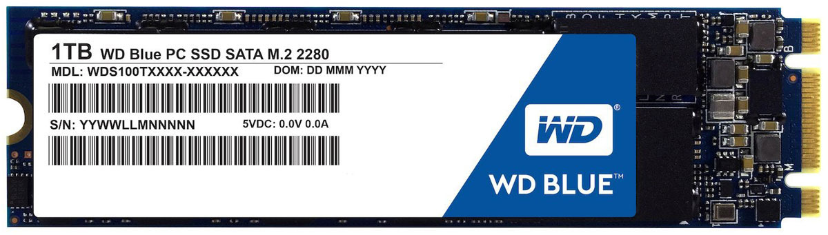 WD Blue 1TB SSD-накопитель (WDS100T1B0B) lacie rugged thunderbolt 250gb ssd накопитель lac9000490